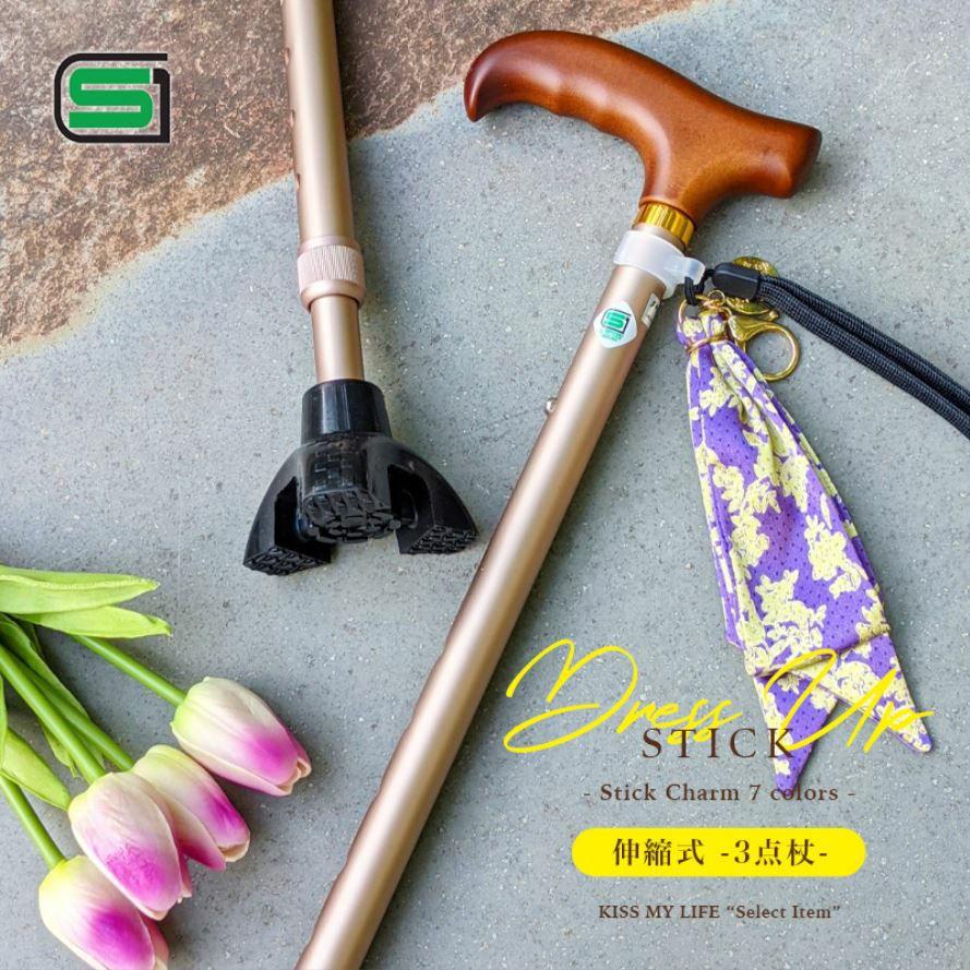 7カラーから選べる DRESS UP STICK 伸縮式3点杖