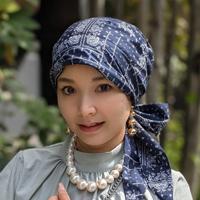 ケア帽子-Audrey(オードリー)- バンダナ柄 ネイビー
