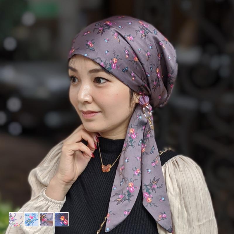 医療用帽子 ケア帽子 スカーフタイプ -蝶と薔薇-